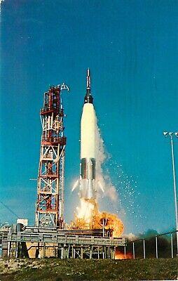 Vintage Postcard NASA Mercury Atlas Launch w John Glenn, Cape Canaveral FL 1962