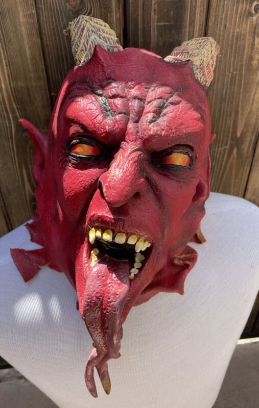Vintage RARE Latex Rubber DEVIL Halloween Mask Horns Forked Tongue Topstone?