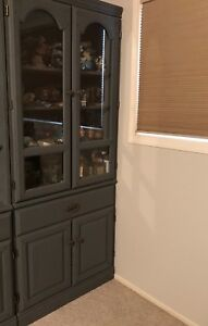 Wooden china cupboard  and. Storage shelve