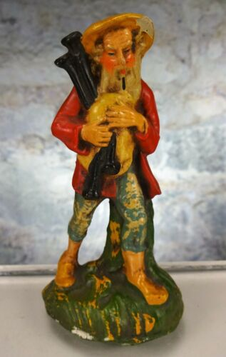 SHEPHARD JOSHUA / JOSIAH CARRYING BAGPIPES FONTANINI PAPER MACHE NATIVITY FIGURE