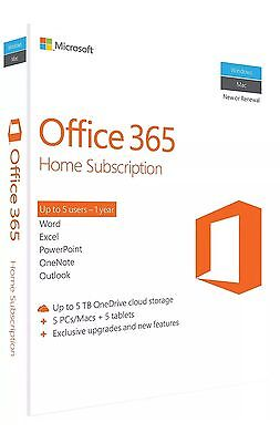 Microsoft Office 365 Home  5 Pc Or Mac Tablets  Phones 1 Year Subscription