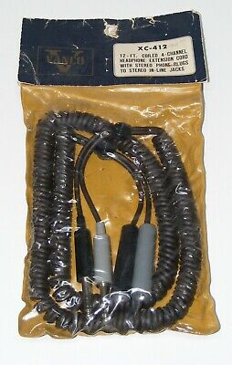 NOS Vtg. Vanco XC-412 12' Coiled Extension Cord w/Stereo Phone Plugs OLD SCHOOL for sale  Shipping to India