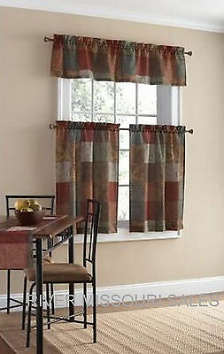 - Tuscan Inspired Palette Of Neutrals 3 Piece Window Valance and Tier Set - NEW