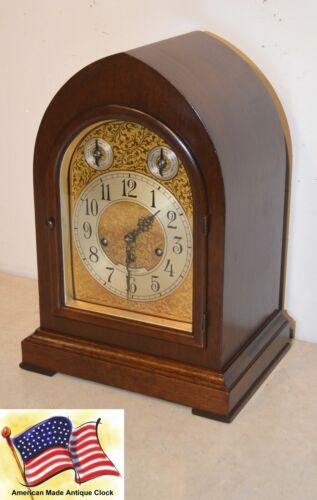 RESTORED  SETH THOMAS CHIME 72 - 1921 GRAND ANTIQUE CABINET CLOCK IN MAHOGANY