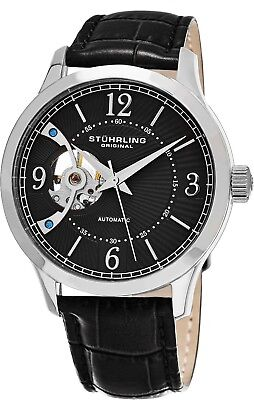 Stuhrling Men's Automatic Wind Open-Heart Watch Genuine Leather Strap 987.02