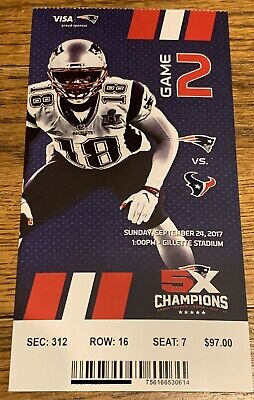 September 24 2017 New England Patriots Vs. Houston Texans Ticket