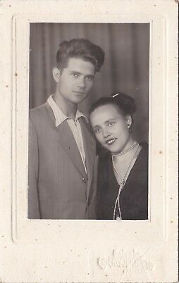 1940s Beautiful young couple handsome man woman Fashion old Russian Soviet photo