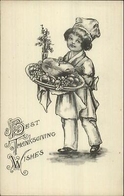 Thanksgiving Boy Chef Fruit Platter Gravure Series c1910 Postcard](Thanksgiving Fruit Platter)