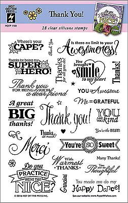 (Thank You Sayings Clear Unmounted Rubber Stamp Set 28 Stamps HOTP 1189 New)