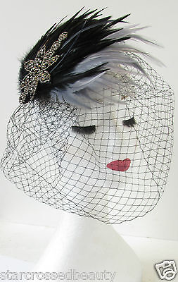 Black & Grey Silver Feather Birdcage Veil Fascinator Headpiece 1940s 1950s S27