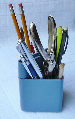 Blue Desk Organizer Desktop Office Pen Pencil Holder Storage