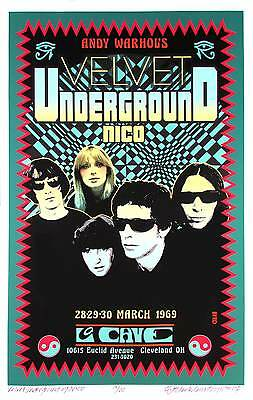 Velvet Underground w Nico Poster La Cave 1969 Artist Edition Signed David Byrd