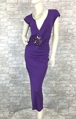 Dolce & Gabbana New Purple Stretch Cocktail Dress 6 US 42 IT M Crystals Runway