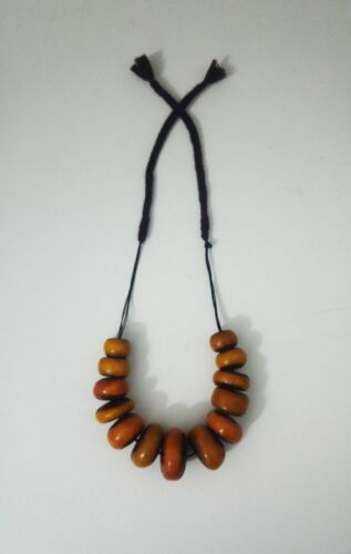 Vintage Women Necklace Amber Beads Resin