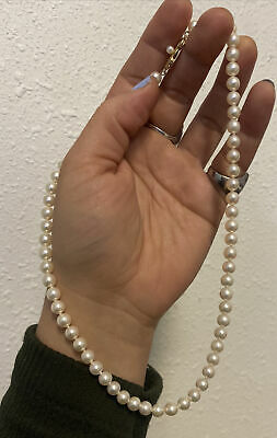 Vintage Mikimoto 585 14k White Pearl Necklace 17""