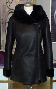 Luxus Designer Damen echter Lammfellmantel  mit  Kapuze Gr 36 NEU