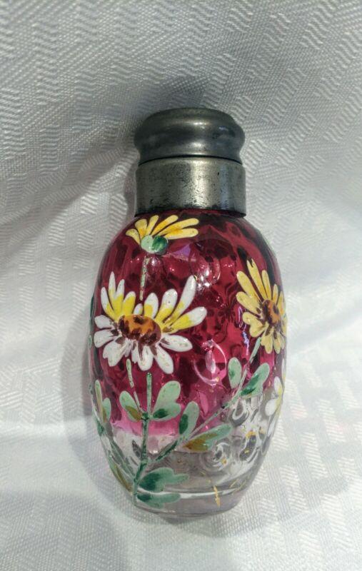 Rare Victorian cranberry rubina enameled salt shaker