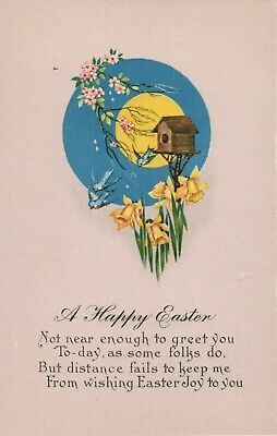 Full Moon Pink Background Bird House Yellow Pink Flowers Easter Wishes Postcard](Full Moon Background)