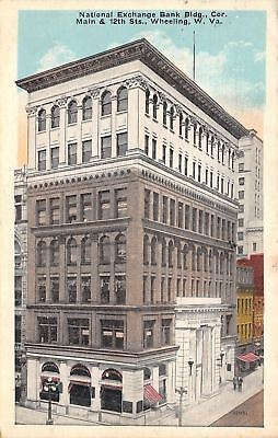 Wheeling West Virginia National Exchange Bank 12Th   Main Streets 1918 Postcard