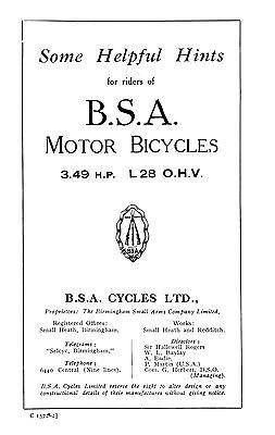(0215) 1928 BSA 3.49hp L28 instruction book
