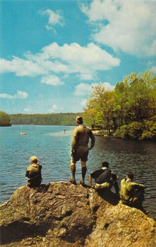 CT North Stonington BOY SCOUTS OF AMERICA Lake of Isles Res postcard BS1