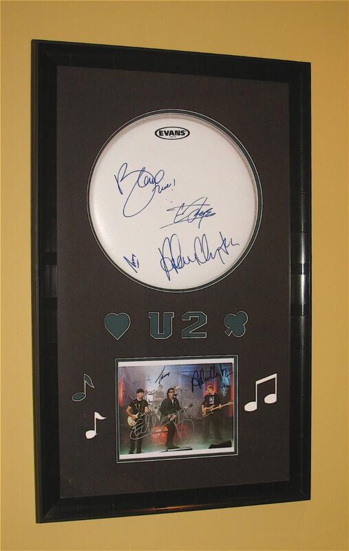 U2~Autographed 23 x 38 Drumhead & Photograph Framed Display w/COA~Bono~The Edge