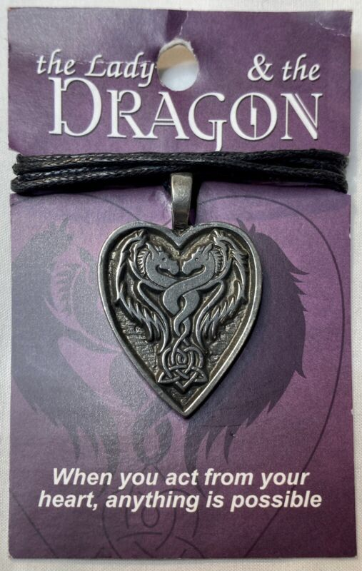 The Lady And The Dragon Pewter Pendant