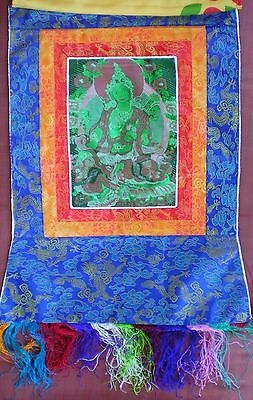 Embroidered Silk Tibetan Thangka Scroll  with Brocade - GREEN TARA