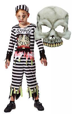 Boys Girls Zombie Skeleton Prisoner Convict Inmate Halloween Fancy Dress Costume](Girl Inmate Costume)