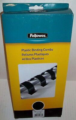 Fellowes Crc52383 Plastic Binding Combs 1 Black Round Back 200 Sheets 10pk Qty3