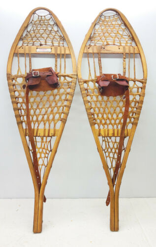 """Antique Vintage 14"""" X 42"""" TORPEDO Snowshoes Usable or Decor - Free Shipping"""