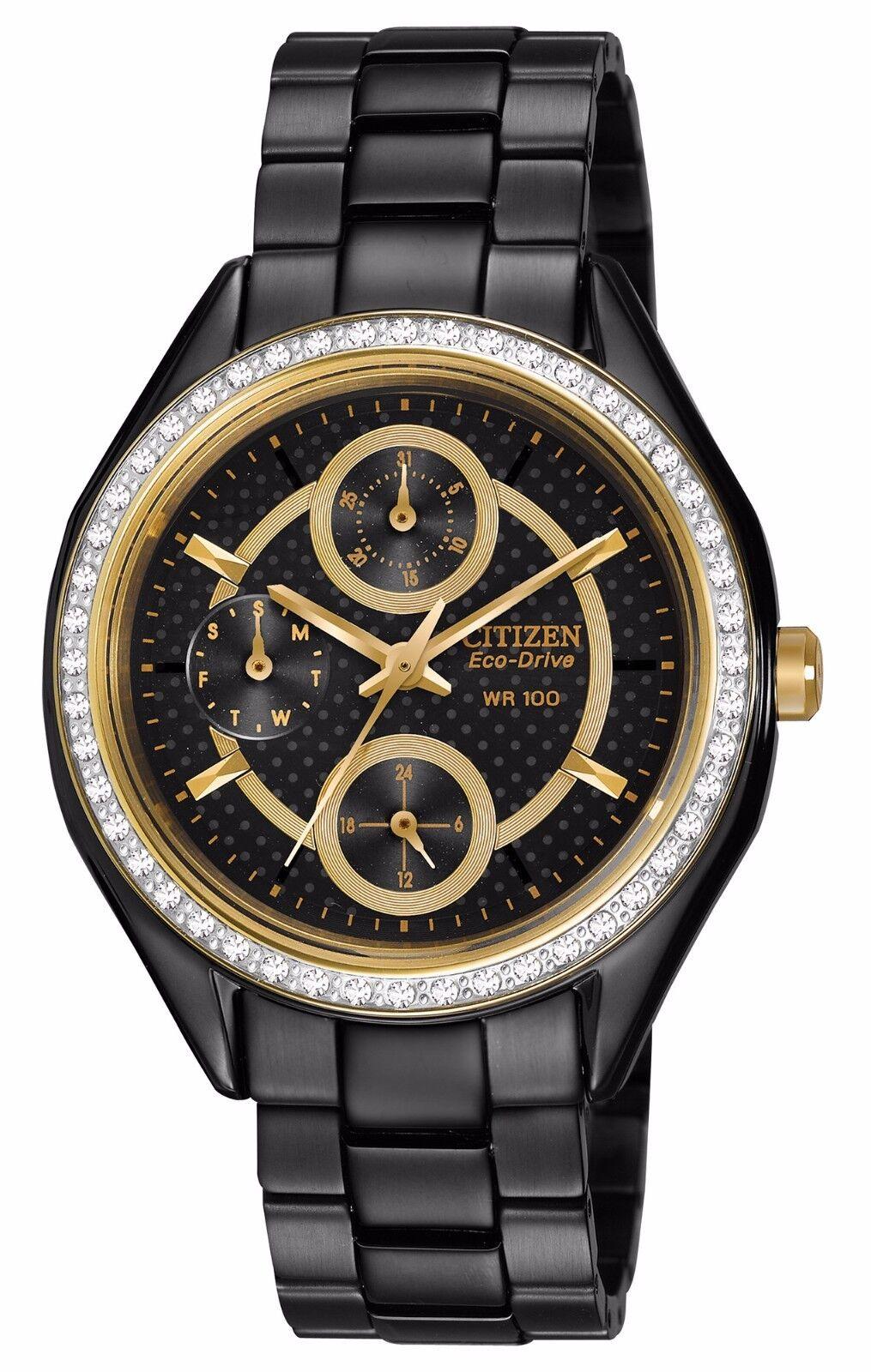 Citizen-Eco-Drive-Women-s-FD1068-53E-Swarvoski-Crystal-Bezel-Black-Watch