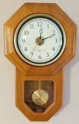 Octagon Oak Wood Regulator Wall Clock- Savannah Row Brand - Battery Operated
