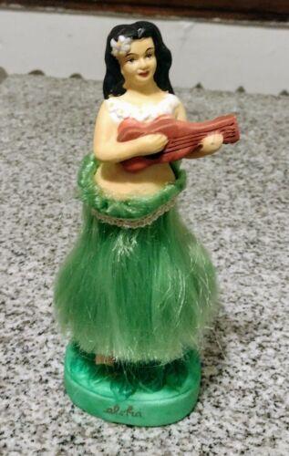 Vintage Aloha Hula Girl Hawaii Nodder Ceramic Dancer Ukulele Accoutrements