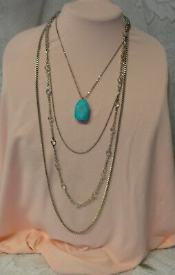 Fashion Fantastik Signed Express Natural Turquoise Multi Chain Pendant Necklace