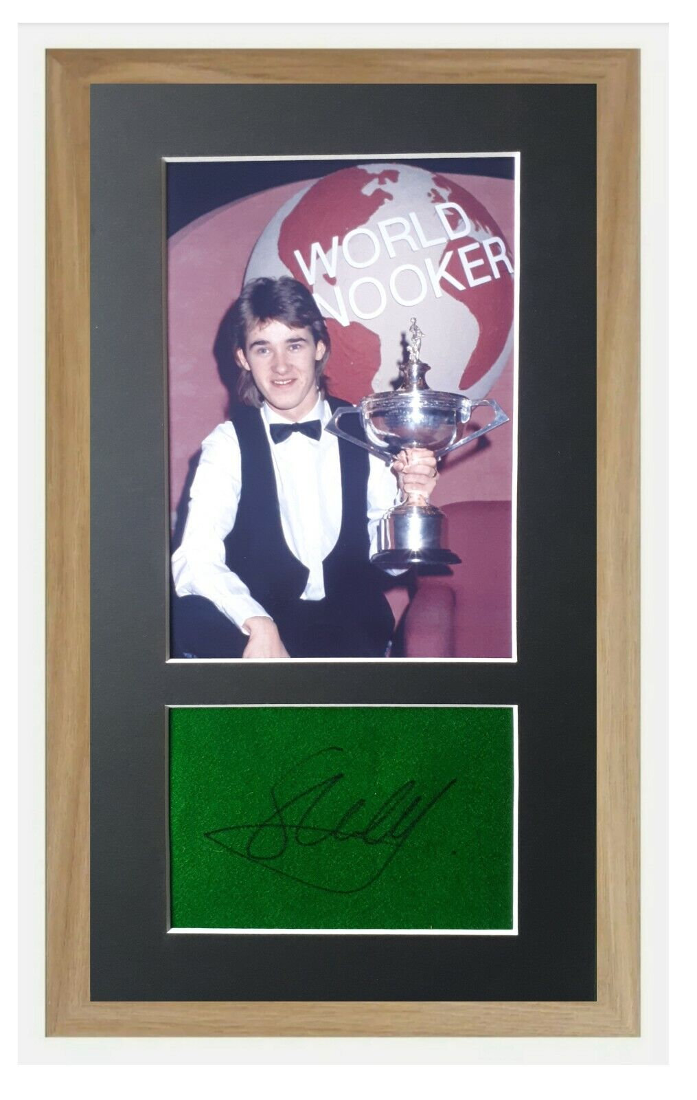 Stephen Hendry Genuine Signed andFramed 380x210 Baize Display, World Snooker Champ