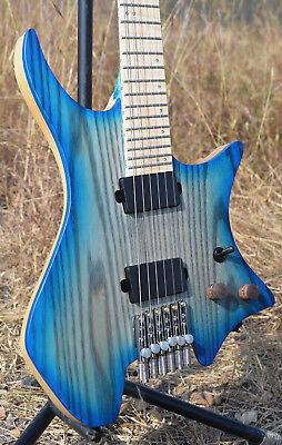 2018 New Fanned Frets Headless guitar New Bridge Flame maple Neck Blue color