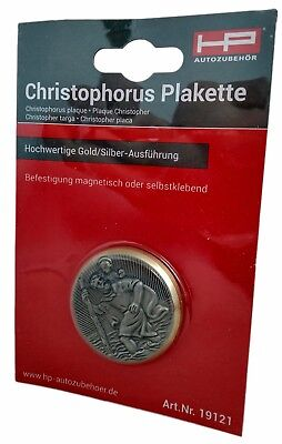 Christopherus Plakette gold silber farbige Ausführung klebbar magnetisch 19121