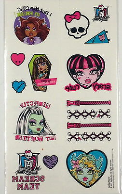 16 Monster High Tattoos ( 8 squares) Party Favors Teacher Supply FREE - Monster High Favors