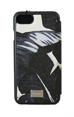 NEW $300 DOLCE & GABBANA Phone Case Black Leather Banana Leaves Print iPhone7