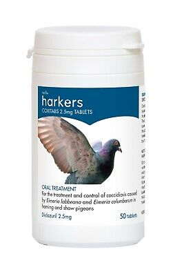 Harkers Coxitabs Pigeon Supplement Treatment & Control Of Coccidiosis - 50 Tabs