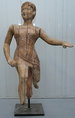 RARE LATE 18TH CENTURY FRENCH HAND CARVED ANGEL WOOD STATUE ARTICULATED ARMS