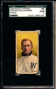 1909 T206 Walter Johnson Portrait Sweet Cap SGC 10 Poor 1 23644