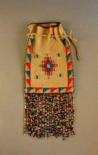 Vintage Apache Indian Deerskin Beaded Bag