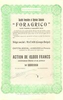 Raro, Congo, Soc. Forestiere Et Agricole Coloniale, Accion, 1947 (emision 400) - colonia - ebay.es