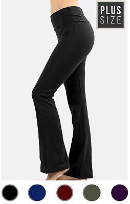 NEW Plus Size Cotton Stretch Fold Over Yoga Flare Pants- XL/1X-2X-3X
