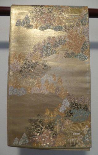 #71 Vintage Japanese Silk Fukuro Obi, Scenic