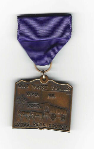 BOY SCOUT   OLD WEST TRAILS MEDAL  COLORADO 1st ISSUE SHORT DROP