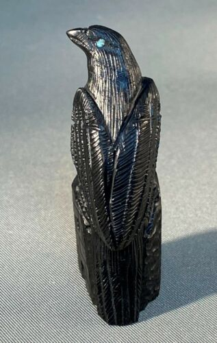 Zuni Carved Jet Perched Raven Fetish with Turquoise Eyes by Colin Weeka, NEW