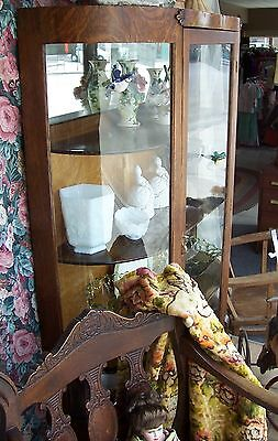 Antique Oak Curved Front Curio Cabinet China Hutch